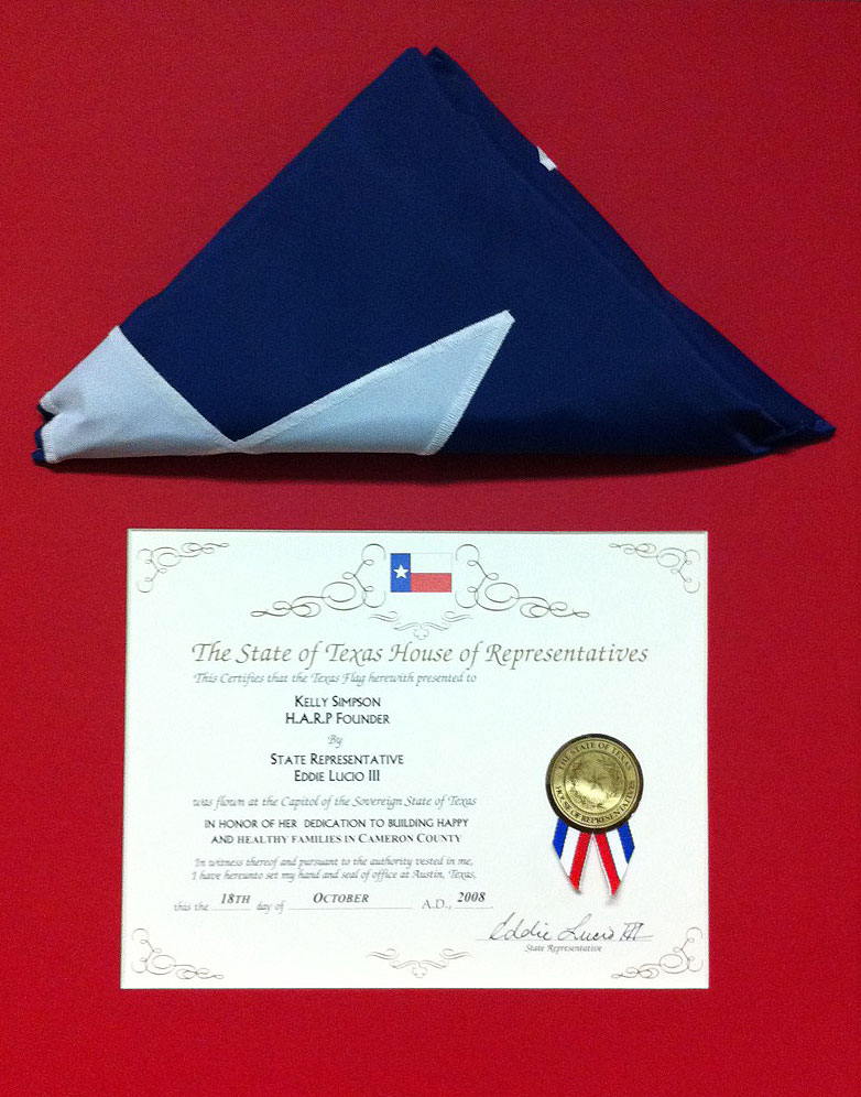 State of Texas Recognition of Service Award